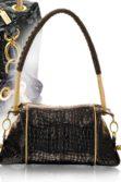 Fekete krokodilmintás lakkbőr női táska