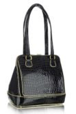 Fekete alkalmi lakkbőr női táska