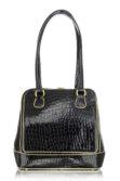 Krokodilmintás fekete lakkbőr alkalmi táska