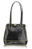 Fekete arany lakkbőr női táska