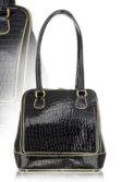 Fekete lakkbőr női táska