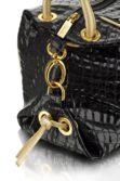 Különleges fekete lakkbőr női táska